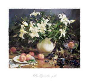 Lilies and Peaches by Del Gish