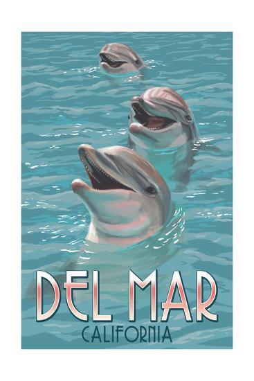 Del Mar, California - Dolphins-Lantern Press-Art Print