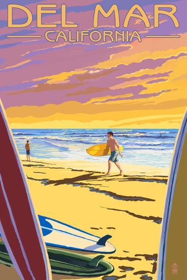 Del Mar, California - Surfers at Sunset-Lantern Press-Art Print