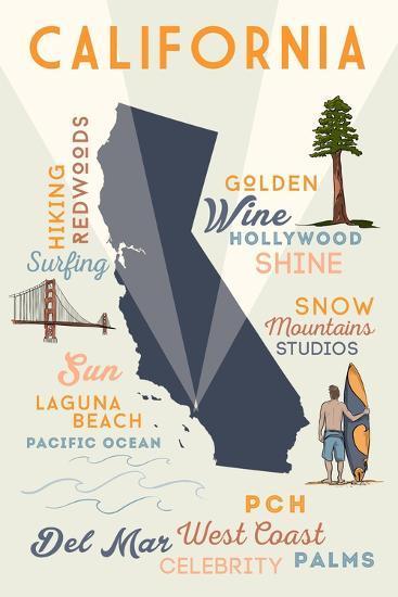 Del Mar, California - Typography and Icons-Lantern Press-Art Print