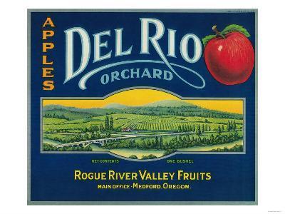 Del Rio Apple Crate Label - Medford, OR-Lantern Press-Art Print