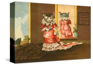 Deland's Baking Powder Trade Card of a Cat in a Red Dress