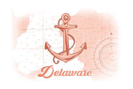 Delaware - Anchor - Coral - Coastal Icon-Lantern Press-Art Print