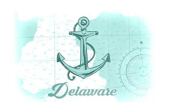 Delaware - Anchor - Teal - Coastal Icon-Lantern Press-Art Print
