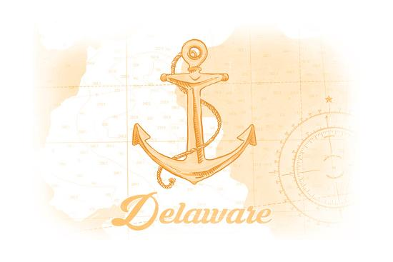 Delaware - Anchor - Yellow - Coastal Icon-Lantern Press-Art Print