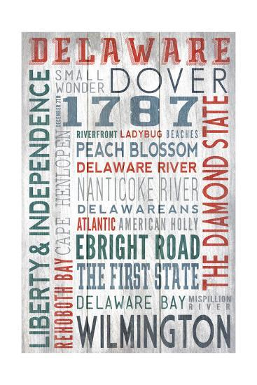 Delaware - Barnwood Typography-Lantern Press-Art Print