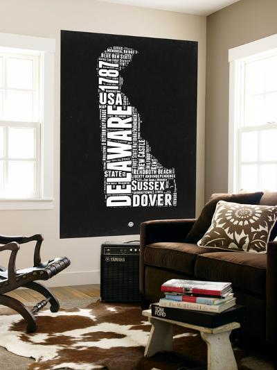 Delaware Black and White Map-NaxArt-Wall Mural