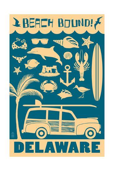 Delaware - Coastal Icons-Lantern Press-Art Print