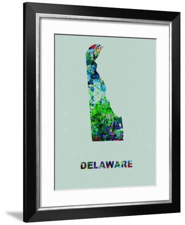 Delaware Color Splatter Map-NaxArt-Framed Art Print