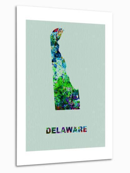 Delaware Color Splatter Map-NaxArt-Metal Print