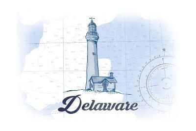 Delaware - Lighthouse - Blue - Coastal Icon-Lantern Press-Art Print