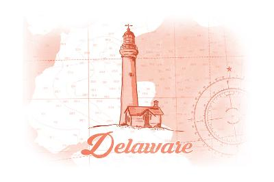 Delaware - Lighthouse - Coral - Coastal Icon-Lantern Press-Art Print
