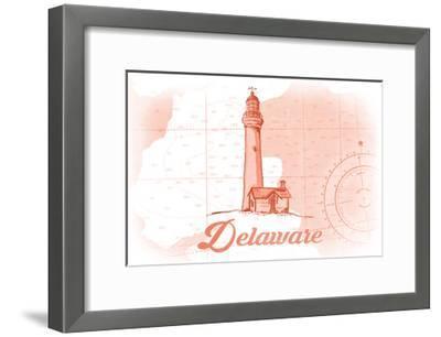 Delaware - Lighthouse - Coral - Coastal Icon-Lantern Press-Framed Art Print