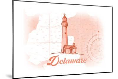 Delaware - Lighthouse - Coral - Coastal Icon-Lantern Press-Mounted Art Print