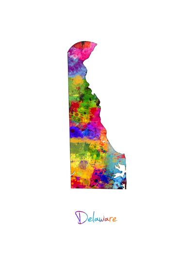 Delaware Map-Michael Tompsett-Art Print