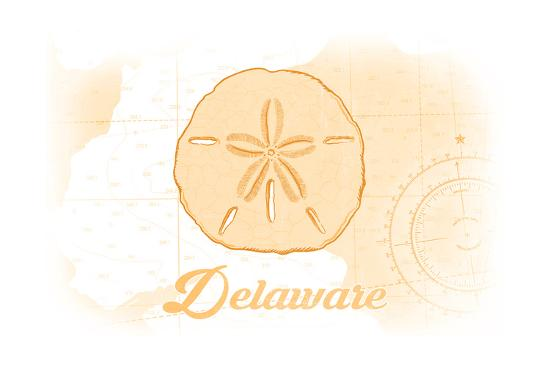 Delaware - Sand Dollar - Yellow - Coastal Icon-Lantern Press-Art Print