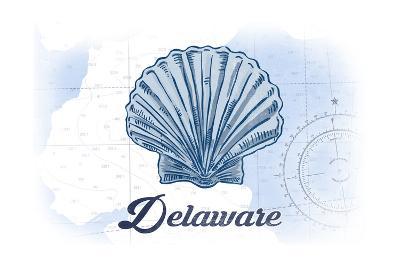 Delaware - Scallop Shell - Blue - Coastal Icon-Lantern Press-Art Print