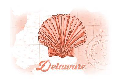 Delaware - Scallop Shell - Coral - Coastal Icon-Lantern Press-Art Print