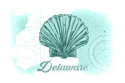 Delaware - Scallop Shell - Teal - Coastal Icon-Lantern Press-Art Print