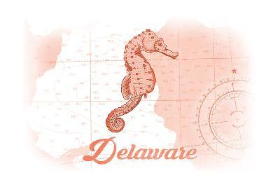 Delaware - Seahorse - Coral - Coastal Icon-Lantern Press-Art Print