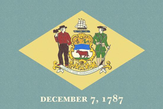 Delaware State Flag-Lantern Press-Art Print