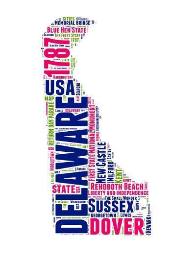Delaware Word Cloud Map-NaxArt-Art Print