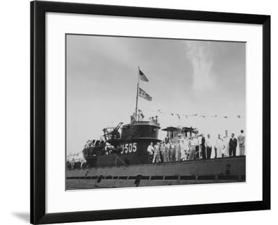 Delegates and Members of the Press on the Decks of the Captured German Submarine U505 as it Arrives--Framed Photographic Print