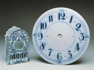 Delftware Table Clock Holder, Ca 1770, and Delftware Clock Dial, Ca 1800, Ceramic, England--Giclee Print