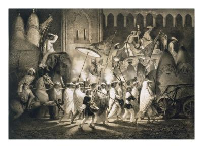 Delhi: Cortege and Retinue of the Great Moghul, from 'Voyages in India', 1859 (Litho)-A. Soltykoff-Giclee Print