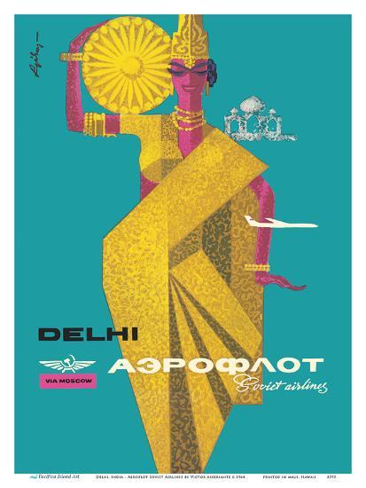 Delhi, India - Aeroflot Soviet Airlines-Victor Asseriants-Art Print