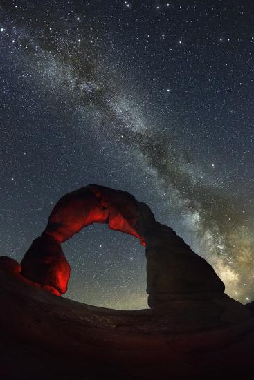 Delicate Arch and the Milky Way.-Jon Hicks-Photographic Print