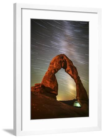 Delicate Arch Star Trails-Darren White Photography-Framed Photographic Print