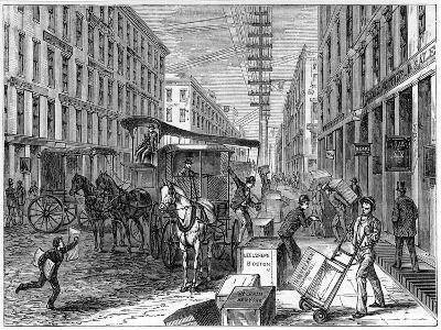 Deliveries and Collections Taking Place at Wells Fargo Depot, New York, USA, 1875--Giclee Print