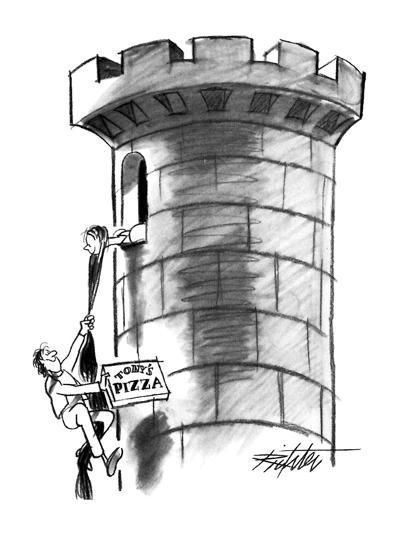 Delivery boy climbs Rapunzel's hair, carrying a pizza. - New Yorker Cartoon-Mischa Richter-Premium Giclee Print