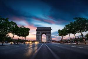 Arc De Triomphe Paris City at Sunset by dellm60
