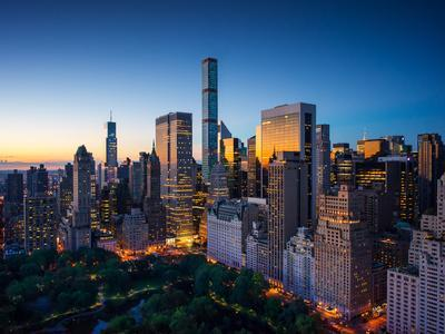 New York City - Amazing Sunrise over Central Park and Upper East Side Manhattan - Birds Eye / Aeria