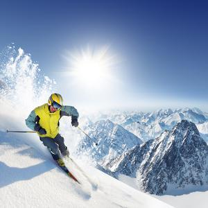 Skier In High Mountains by dellm60