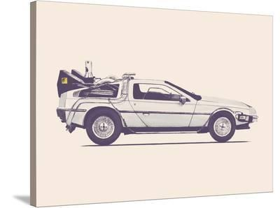 Delorean Back To The Future-Florent Bodart-Stretched Canvas Print