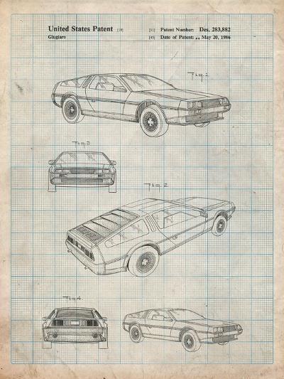 Delorean Patent-Cole Borders-Art Print