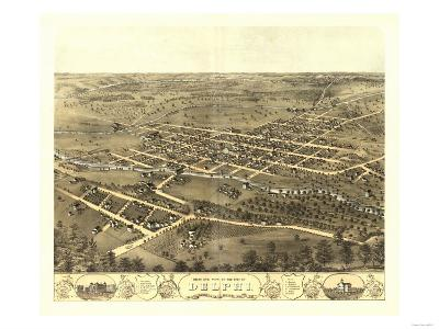 Delphi, Indiana - Panoramic Map-Lantern Press-Art Print
