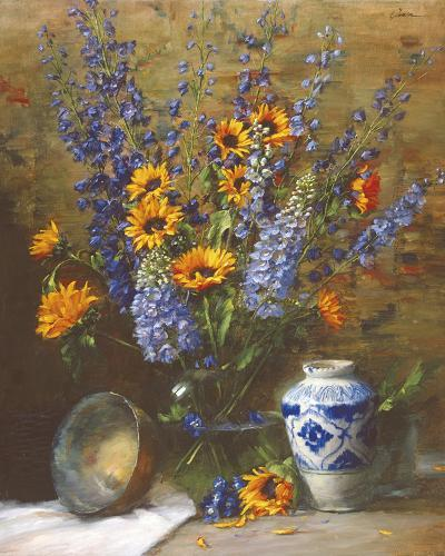 Delphiniums and Chinese Vase-Frank Janca-Giclee Print