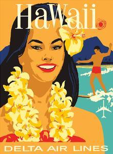 Delta Air Lines - Hawaii - Hawaiian Island Girl wearing a Flower Lei and a Surfer
