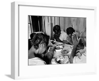 Delta and Pine Company African American Sharecropper Lonnie Fair and Family Praying before a Meal-Alfred Eisenstaedt-Framed Premium Photographic Print