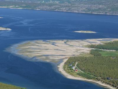 Delta of Sand at River Mouth, Kvaenangen Sorfjord, North Norway, Scandinavia-Tony Waltham-Photographic Print