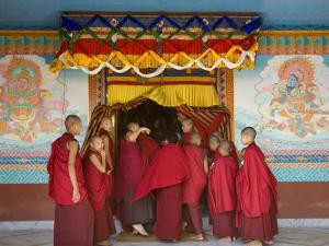Monks at Tibetan Buddhist Monastery, Kathmandu, Nepal by Demetrio Carrasco