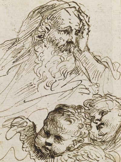 Demi-figure de vieillard et deux têtes d'anges ; Demi-figure d'homme nu, assis, tourné vers droite-Guerchin Le-Giclee Print