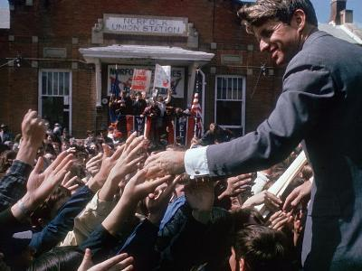 Democratic Presidential Contender Bobby Kennedy Shaking Hands in Crowd During Campaign Event-Bill Eppridge-Photographic Print