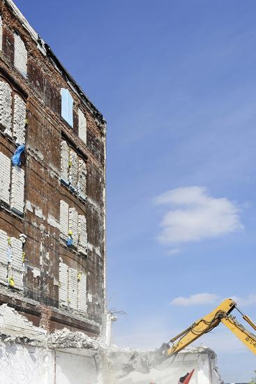 Demolition of Old Buildings, Shanghaiallee, Hafencity, Mitte, Hanseatic City of Hamburg, Germany-Axel Schmies-Photographic Print