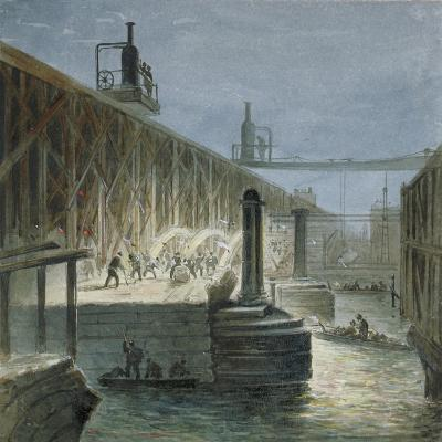 Demolition Work Being Carried Out on Blackfriars Bridge from the Surrey Shore, London, 1865-George Maund-Giclee Print