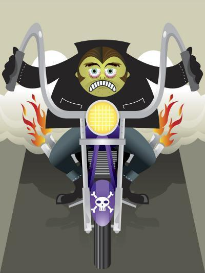 Demon Riding Motorcycle with Flaming Exhaust--Photo